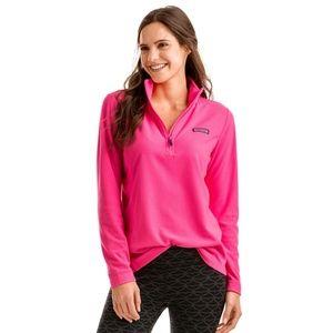 Vineyard Vines Women's Pink Grid Fleece 1/4-Zip
